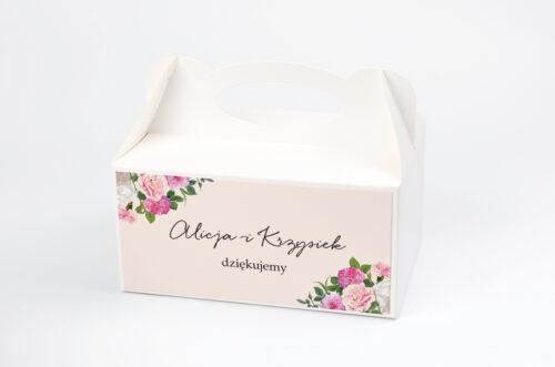Ozdobne pudełko na ciasto - Eleganckie kwiaty - Białe i różowe piwonie