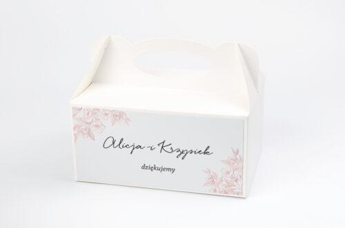 Ozdobne pudełko na ciasto - Z nawami – Delikatne kwiaty – Pudrowe