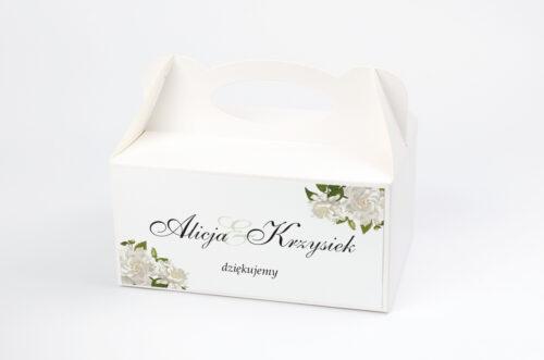 Ozdobne pudełko na ciasto ze srebrną podkładką - Białe róże