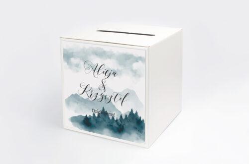 Personalizowane pudełko na koperty - Akwarelowe góry