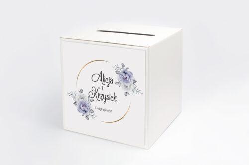 Personalizowane pudełko na koperty do zaproszenia ze zdjęciem i sznurkiem - Siwe kwiaty na kole