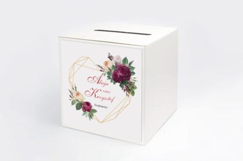 Personalizowane pudełko na koperty do zaproszenia Angielskie Róże – Burgundowe