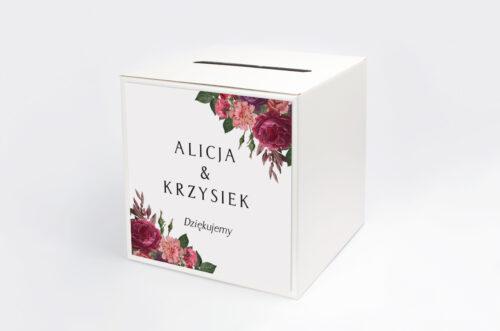 Pudełko na koperty do zaproszenia BOHO Czerwone&Eco – Bordowe Kwiaty