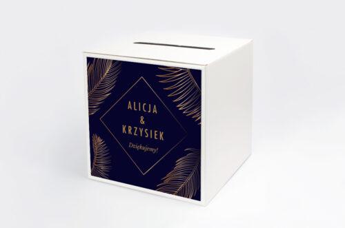 Personalizowane pudełko na koperty - Geometryczne Nowoczesne – Tropikalne - Ciemne