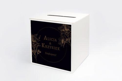 Personalizowane pudełko na koperty - Geometryczne Czarno-białe – Delikatne Lilie - Ciemne