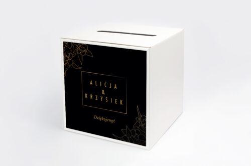 Personalizowane pudełko na koperty - Geometryczne Czarno-białe – Minimalistyczne Kwiatuszki - Ciemne
