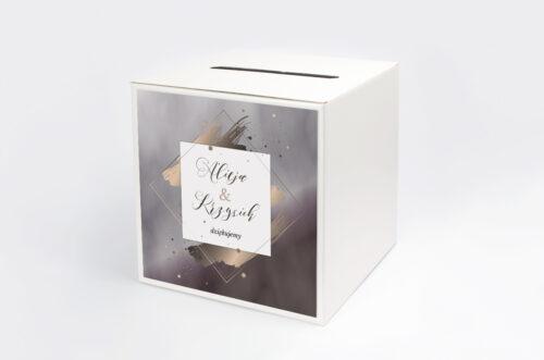 Personalizowane pudełko na koperty - Geometryczne Nowoczesne – Róż & Złoto - Ciemne