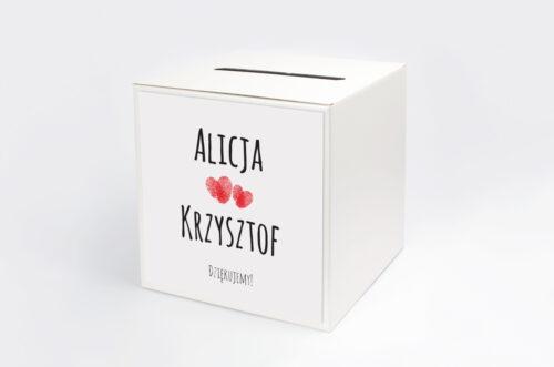 Personalizowane pudełko na koperty EKO z motywem czerwonego serca