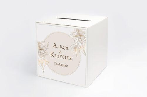 Personalizowane pudełko na koperty - Geometryczne Czarno-białe – Delikatne Lilie - Jasne