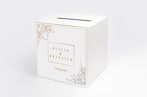 Personalizowane pudełko na koperty - Geometryczne Czarno-białe – Minimalistyczne Kwiatuszki - Jasne