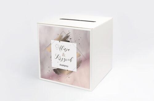 Personalizowane pudełko na koperty - Geometryczne Nowoczesne – Róż & Złoto - Jasne