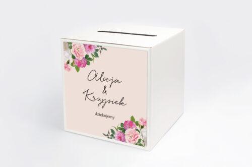 Personalizowane pudełko na koperty - Eleganckie kwiaty - Białe i różowe piwonie