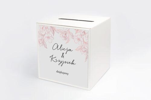Personalizowane pudełko na koperty - Z nawami – Delikatne kwiaty – Pudrowe