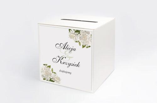 Personalizowane pudełko na koperty ze srebrną podkładką - Białe róże