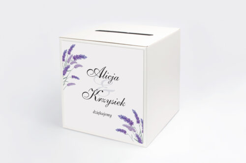 Personalizowane pudełko na koperty ze srebrną podkładką - Lawenda