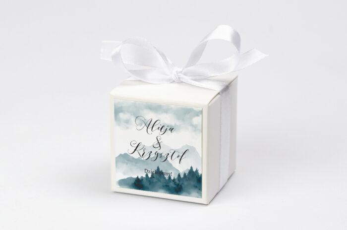 Ozdobne pudełeczko z personalizacją - Akwarelowe góry