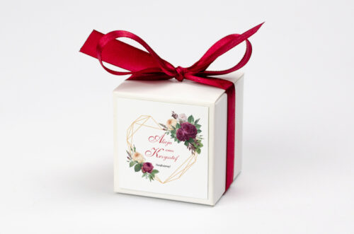 Pudełeczko z personalizacją - Angielskie Róże – Burgundowe