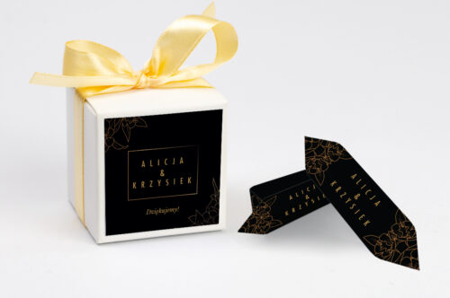 Ozdobne pudełeczko z personalizacją - Geometryczne Czarno-białe – Minimalistyczne Kwiatuszki - Ciemne