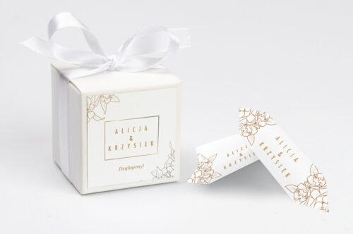 Pudełeczko z personalizacją do zaproszenia Geometryczne Czarno-białe – Minimalistyczne Kwiatuszki - Jasne