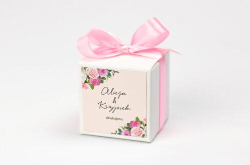 Pudełeczko z personalizacją na krówki do zaproszenia - Eleganckie kwiaty - Białe i różowe piwonie