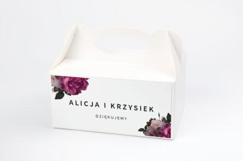 Ozdobne pudełko na ciasto BOHO ECO - czerwona stulistna róża