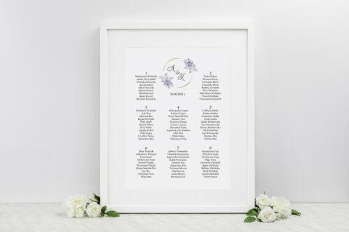 Plan stołów weselnych do zaproszenia ze zdjęciem i sznurkiem – Siwe kwiaty na kole