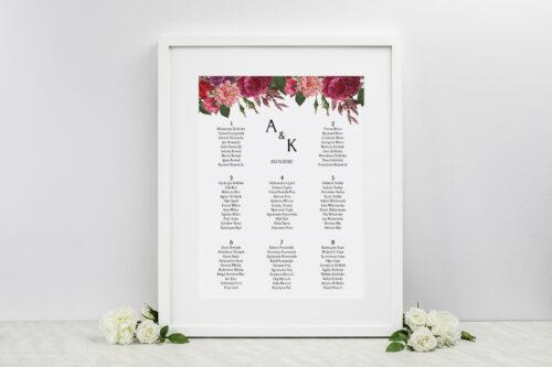 Plan stołów weselnych BOHO Czerwone&Eco – Bordowe Kwiaty