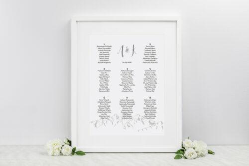 Plan stołów weselnych do zaproszenia Boho – Widok na góry