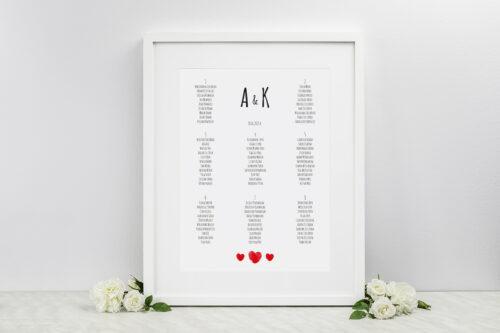 Plan stołów weselnych do zaproszenia EKO z motywem czerwonego serca
