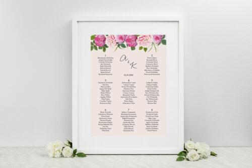 Plan stołów weselnych do zaproszeń Eleganckie kwiaty - Białe i różowe piwonie