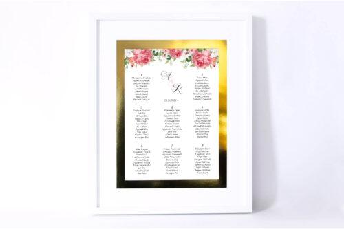 Plan stołów weselnych do zaproszenia ze złotą podkładką - Koralowe Róże