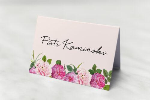 Winietka ślubna do zaproszenia Eleganckie kwiaty - Białe i różowe piwonie