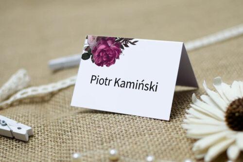 Winietka ślubna do zaproszenia BOHO ECO - czerwona stulistna róża
