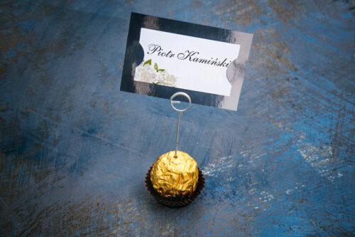 Winietka ślubna do zaproszenia ze srebrną podkładką - Białe róże