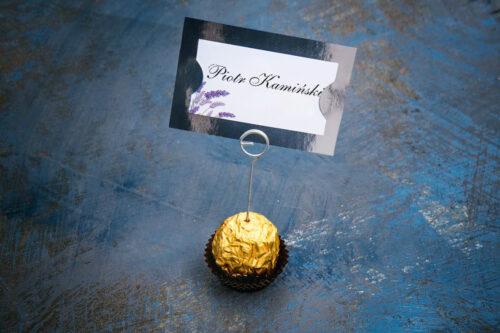 Winietka ślubna do zaproszenia ze srebrną podkładką - Lawenda