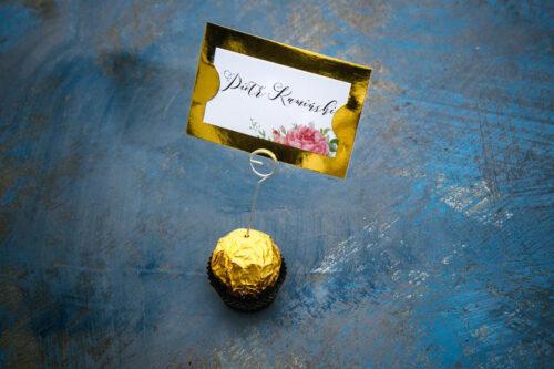 Winietka ślubna do zaproszenia ze złotą podkładką - Koralowe Róże