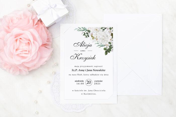 zaproszenie ślubne we wzorze białych kameli