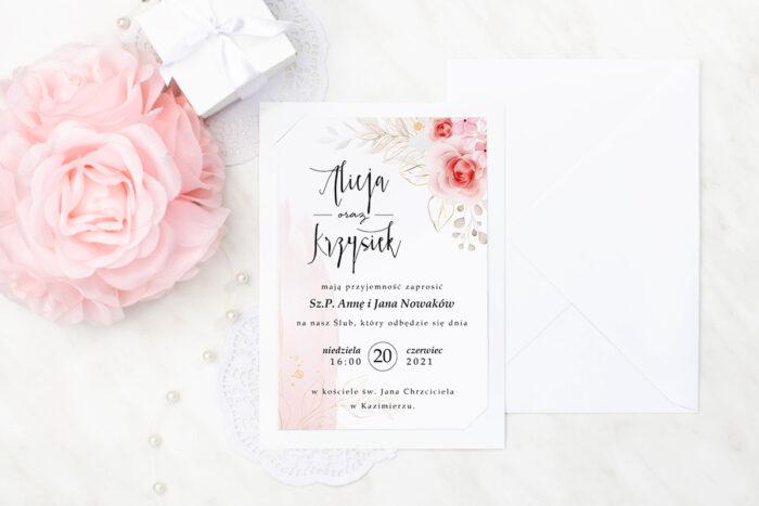 zaproszenie ślubne we wzorze róż ze złotymi gałązkami