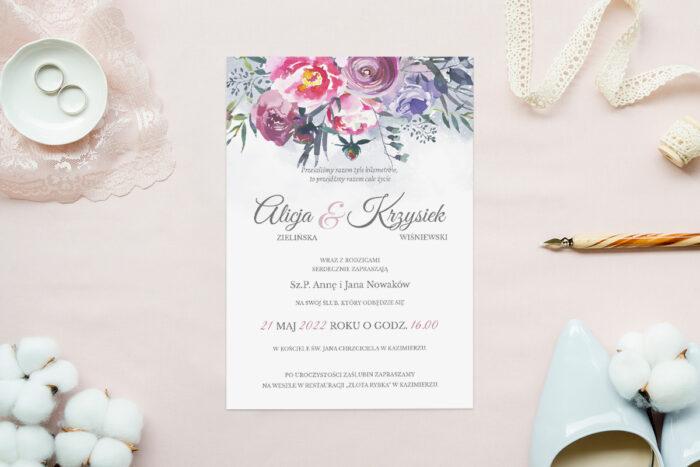zaproszenie ślubne jednokartkowe akwarelowe polne kwiaty malwy