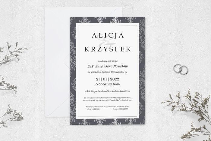 zaproszenie-slubne-jednokartkowe-srebrna-elegancja-klasyczne-papier-matowy-koperta-bez-koperty