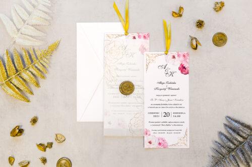 Zaproszenie ślubne z lakiem - Różane