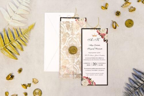 zaproszenie ślubne DL z lakiem we wzorze ozdobnych róż