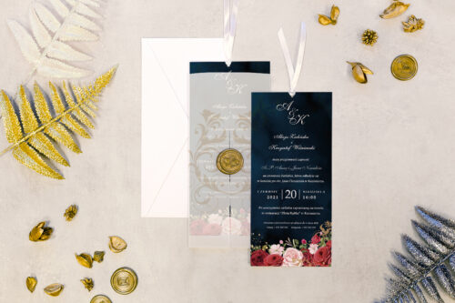 zaproszenie ślubne DL z lakiem we wzorze wiktoriańskich róż