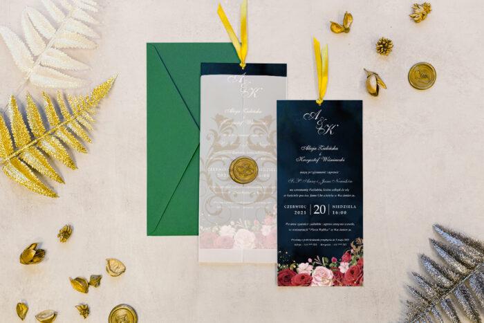 zaproszenie DL z kalką i lakiem - wiktoriańskie róże
