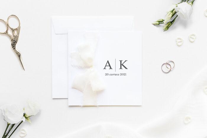 zaproszenie ślubne k4 minimalistyczne z szyfonową wstążką wzór laur