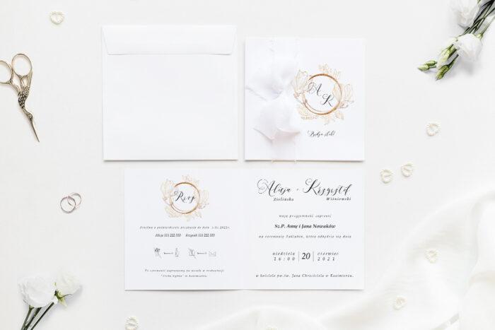 Minimalistyczne zaproszenie ślubne z szyfonową wstążką ze złotą magnolią