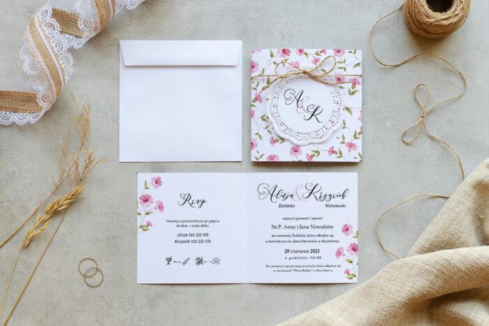 zaproszenie ślubne K4 boho z koronkowym kółeczkiem we wzorze różowych kwiatuszków