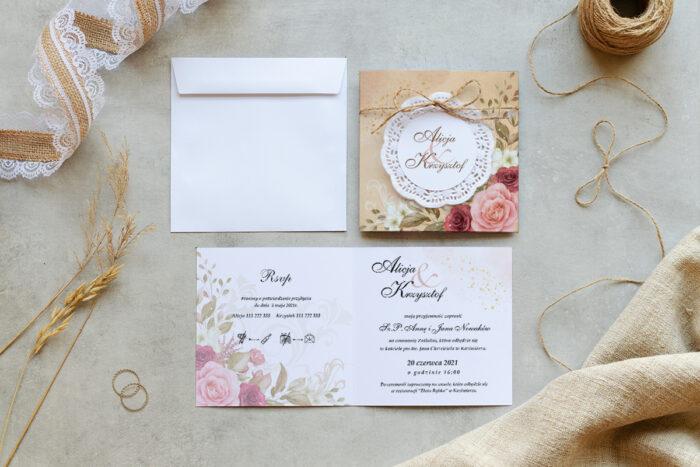 zaproszenie ślubne K4 boho z koronkowym kółeczkiem we wzorze rustykalnych róż