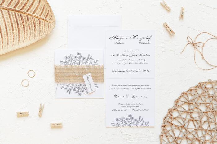 rustykalne-zaproszenie-slubne-z-jutowa-szarfa-kwiatuszki-papier-matowy-350g-dodatki-szarfa-jutowa-sznureczek--koperta-k4-biala