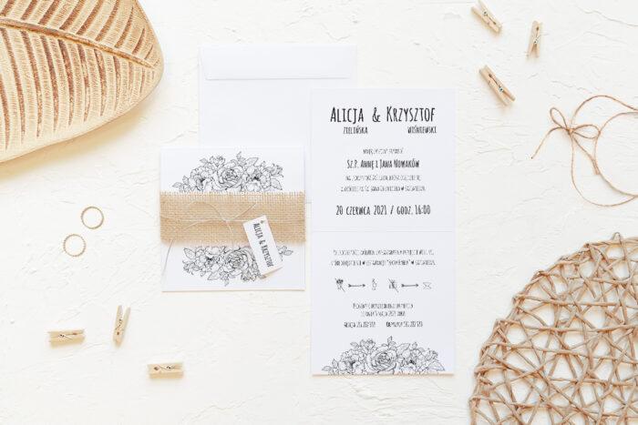 zaproszenie ślubne k4 z jutową szarfą w różyczki